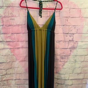 Black/blue/olive green maxi halter dress